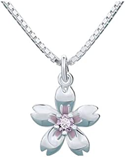 Necklace, S925 Silver Mini Sakura Pendant Necklace, Ladies Fashion Necklace Holiday Gifts (Color : Pink, Size : 12 * 10mm)