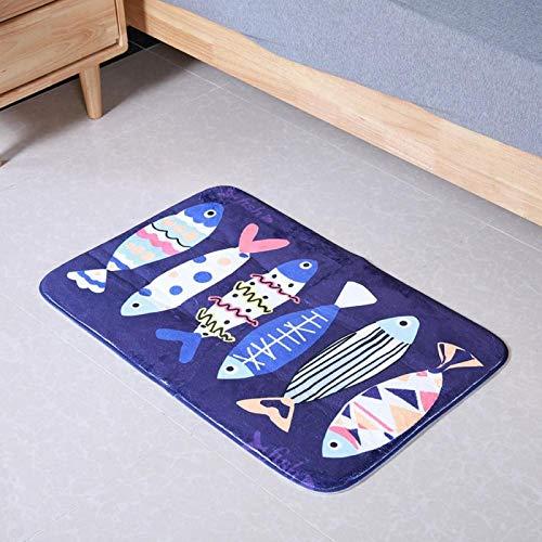 Omabeta Alfombrilla de baño Alfombrilla Absorbente de Agua Fuerte Alfombrilla de Puerta para el hogar para mesita de Noche(Cartoon Fish)