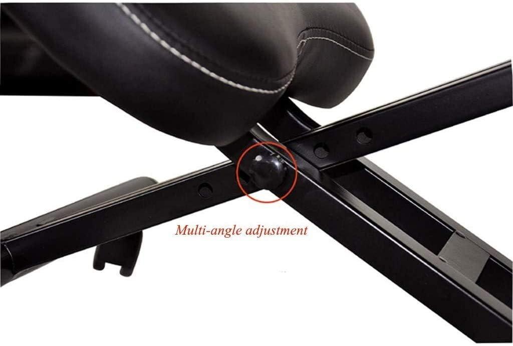 Tabouret ergonomique HUXIUPING Genoux Chaise avec des Roues Lightweight Home Office correcte séant Back Pain Artificielle Réglage Manuel en Cuir (Color : Black) Black