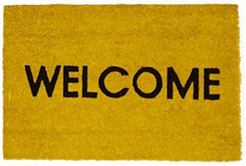 Kokos Fußmatte Welcome versch. Farben 40 x 60 cm, Farbe:gelb