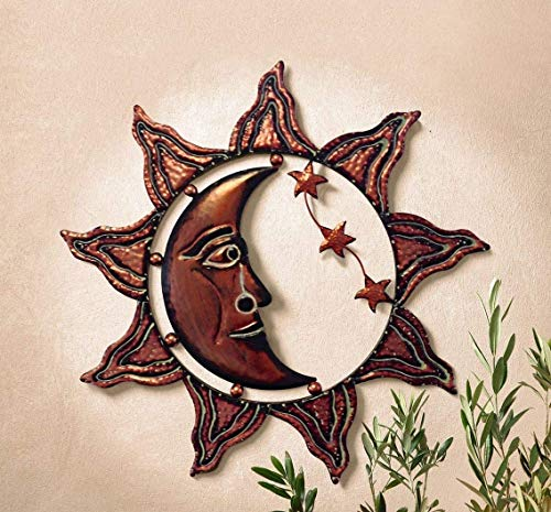 Dekofigur Wandbild Sonne Mond Sterne aus Metall 58 cm groß Gartendeko Sonne Wanddeko aus Metall Wandhänger Reliefbild