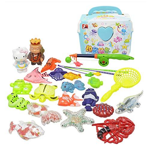 Sipobuy Magnetic Angelspielzeug Spielset für Kinder Badezeit Poolparty mit versenkbarer Rute, Netz, Kunststoff Schwimmfisch - Kleinkindbildung Farben lehren und Lernen Ozean Meerestiere