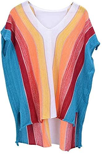 Kobiety Bikini Cover Up Beach Swimsuit Mid-Długość Rainbow Stripe Beach Bluzka Luźne Dzianiny Hollow Topy Ladies Szyfon (Kolor : Multi-colored, Rozmiar : Jeden Rozmiar)