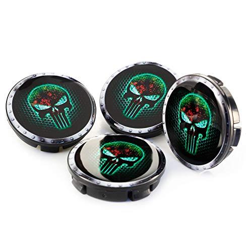 Raptor Hunting Solutions G3D Tapas para Llantas DE AUTOMÓVILES 4 Piezas X 60 MM. Skull Fear Green Auto TUNNING