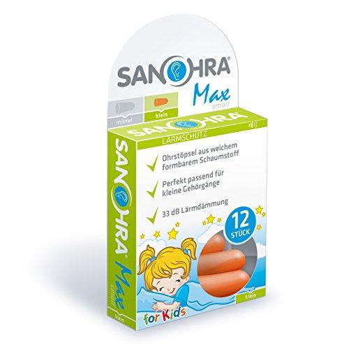 SANOHRA max Ohrstöpsel für Kinder und Erwachsene mit kleinen Gehörgängen - zum besseren Schlafen, gegen Lärm durch Schnarchen und erleichtert das konzentrierte Arbeiten durch starke 33 dB Lärmdämmung
