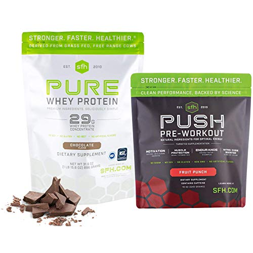 Quarantine & Lean Workout Bundle: SFH Pure Whey Chocolate Protein and Push Pre-Workout Powder