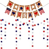 4 Pieces 4th of July Patriotic Decoration Set Includes USA Banner Star Printed Burlap Banner and Red White Blue Star Streamers Paper Star Garland for Independence Day Hanging Decorations