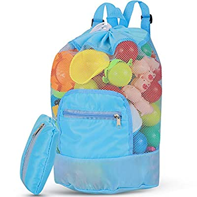 Maitys Mesh Beach Bag Sand-Away Drawstring Beach Backpack Foldable Swim Pool Toy Storage Bag with Double Shoulder Strap (Sky Blue)
