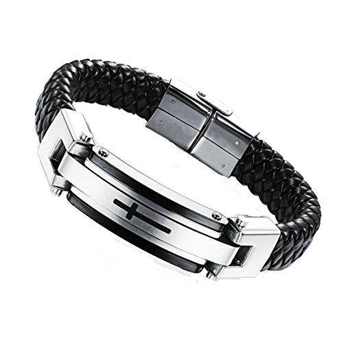 ANAZOZ Damen Herren Leder Armband mit Kreuz Edelstal Anhänger Mode Schmuck Silber