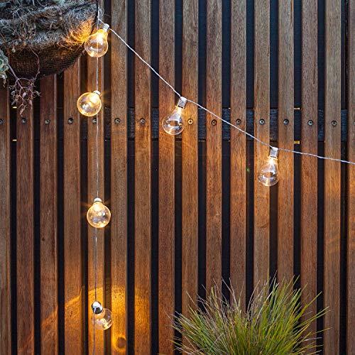 Guirlande Lumineuse Guinguette avec 10 Boules Rétro LED Blanc Chaud à Piles pour Intérieur/Extérieur Lights4fun