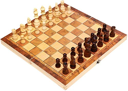 CAPTHOME Wooden International Chess Set, Foldable Large Interior Storage Space Chess Board, Beautifully Crafted Fine-Grained Wooden Chessboard for Kids, Adult Professional, Amateur