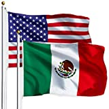 G128 Combo Pack: USA American Flag 3x5 Ft 75D Printed Stars & Mexico (Mexican) Flag 3x5 Ft 75D Printed