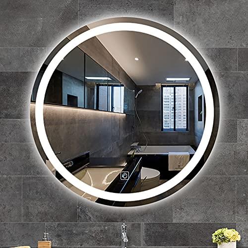 GETZ Espejo de Baño con Iluminación LED   Espejo Redondo sin Marco Antivaho   Espejo de Tocador con Atenuación de 3 Colores y Brillo Ajustable