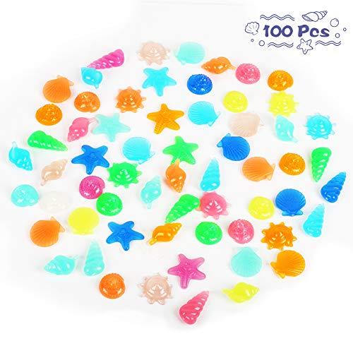 SEELOK 100 Stücke Bunte Leuchtsteine, Leuchtende Steine Stern Muschel Mustern Fluoreszierende Steine für Aquarium Garten Kindergeburtstag Dekoration