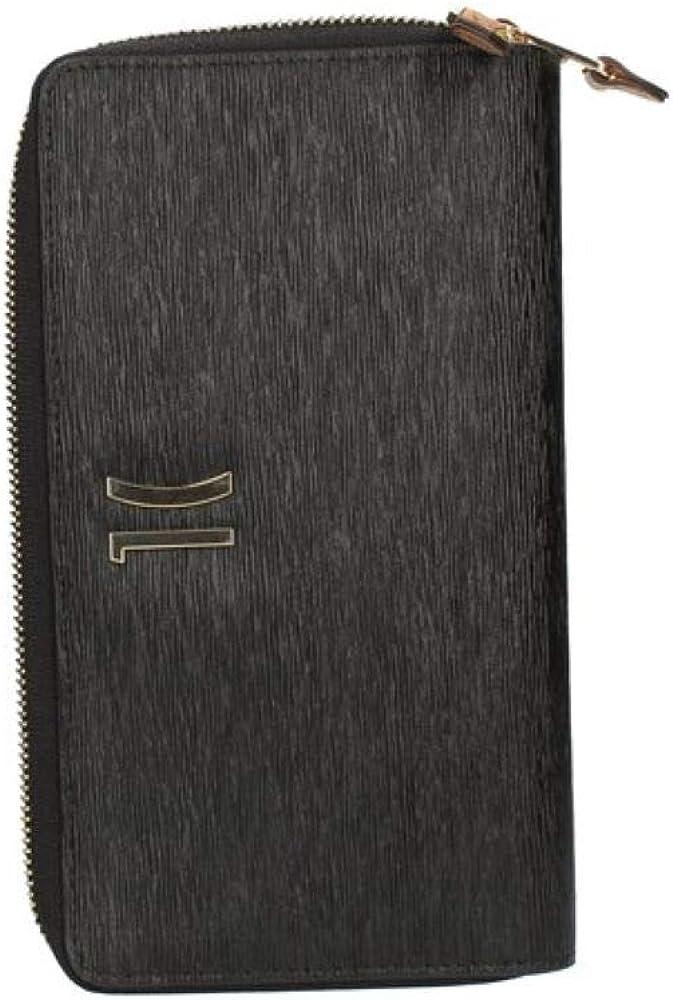 Alviero martini,portafoglio  double ziparound wallet per donna,  in pelle e tessuto con inserti stampa geo 191698110505