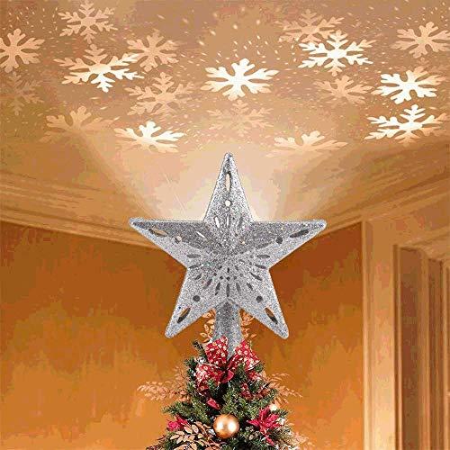 Aomier Cimier de sapin de Noël, projecteur LED, ciel étoilé, décoration de Noël avec LED rotatives.