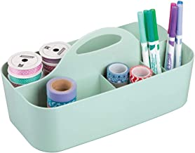 mDesign Craft Storage Organizer Caddy Tote, Portable Divided Basket Bin with Integrated Handle - BPA Free, 6 Sections for ...