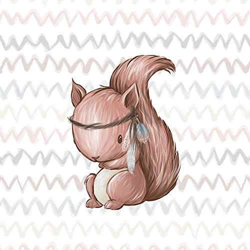Herz Stoffe Österreich 1 Stoff Panel mit Eichhörnchen als Indianer | medium - 40x50cm | Ganzjahressweat - French Terry - Sommersweat | Waldfreunde Serie | Kinderstoff | Ökotex