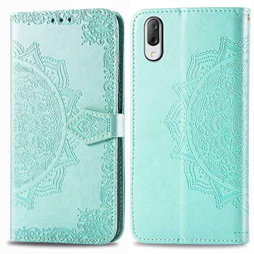 Bear Village Hülle für Sony Xperia L3, PU Lederhülle Handyhülle für Sony Xperia L3, Brieftasche Kratzfestes Magnet Handytasche mit Kartenfach, Grün