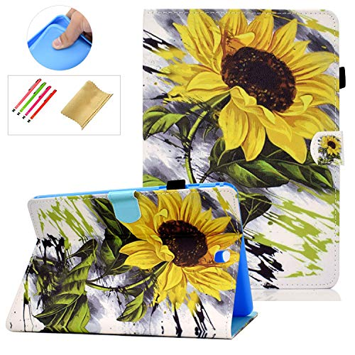 Coopts Galaxy Tab A 9.7 Cases and Covers for SM-T550/SM-P550, Colorful PU Leather Magnetic Cover with Multi-Angle Viewing Stand Shockproof Sleeve for Samsung Galaxy Tab A 9.7 inch 2015, Sun Flower