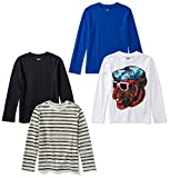 Amazon Brand - Spotted Zebra Boys' Big Kid 4-Pack Long-Sleeve T-Shirts, Cool Cat, X-Large (12)