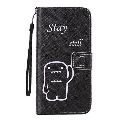 ISAKEN Compatibile con Samsung Galaxy S6 Edge Plus Cover in Pelle PU Protettiva Flip Portafoglio Custodia con Strap/Supporto di Stand/Carte Slot/Chiusura Magnetica - Cartoon