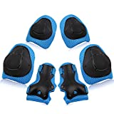 Wemfg Kids Protective Gear Set Knee Pads for Kids 3-8 Years Toddler Knee and Elbow Pads with Wrist Guards 3 in 1 for Skating Cycling Bike Rollerblading Scooter(Blue)