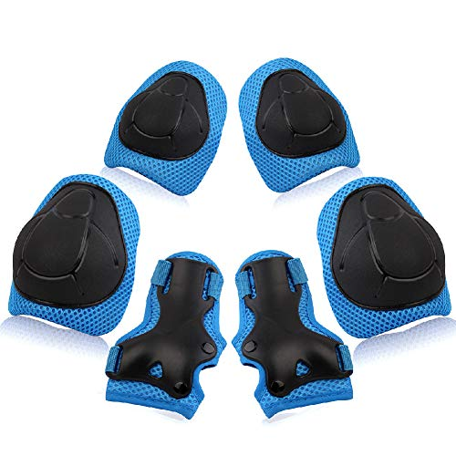 Bumlon Kids Protective Gear Knee Pads for Kids Knee and Elbow Pads with Wrist Guards 3 in 1 Adjustable Strap Kids Skateboarding Pads for Skating Cycling Bike Rollerblading Scooter
