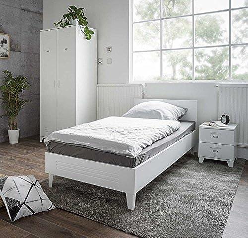 lifestyle4living Jugendzimmer, Schlafzimmer, Kinderzimmer, Kleiderschrank, Bett, Futonbett, Nachtschrank, Liegefl e ca. 90x200cm  , 3-TLG, Weiß matt, Spind-Stil
