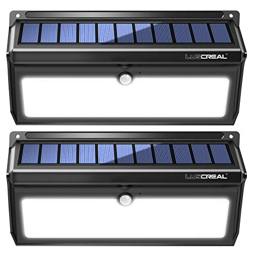 Solar lights Outdoor, Luscreal Super Bright 100 LED Solar Motion Sensor Security Wall Lights for Front Door Back Yard Garage Deck Porch Step Stair Garden Fence Driveaway Patio (2000LM, 2PACK)