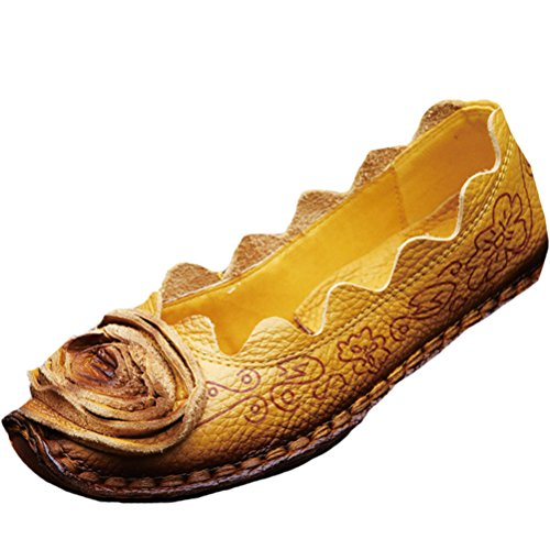 Mordenmiss Women's Fall New Flat Flower Pattern Shoes 38 Style 1-Yellow