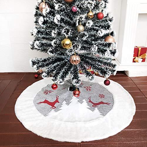 BHD BEAUTY Große Weihnachtsbaumdecke aus Sackleinen mit rotem Rentier/Schneeflocke, 121,9 cm, Kunstfell, Weihnachtsdekoration, 2020