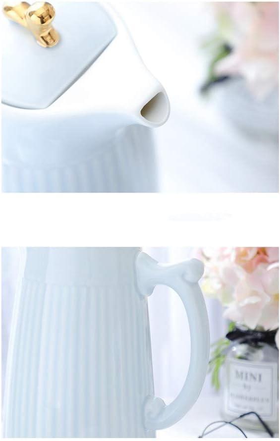 YXDEW Bouilloire Grande capacité Jug Céramique Bouteille d'eau Froide Ménage 2000ml Creative Simple Haute température Bouilloire (Color : Blue) White