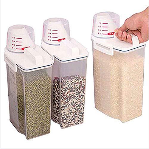 Luftdichter Getreidebehälter 2kg Trockenkornspender, Tragbare Aufbewahrungsbox Für Lebensmittelgetreide, Durchsichtiges Reisfass Mit Messbecher-Transparent  3 packs