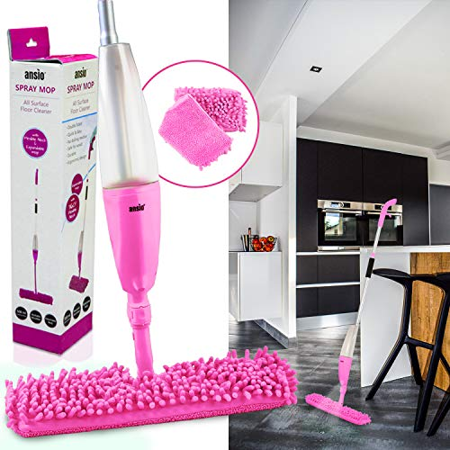 ANSIO Spray Mop Microfibre Floor Mop with Reusable Microfiber Pad (Machine Washable) & Refillable Bottle. Suitable for Wooden, Vinyl, Marble & Tiles Floors - Pink