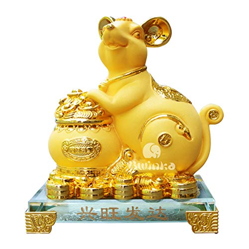 Bwinka 2020 Feng Shui Chinese Zodiac Rat/Mouse Year Golden Resin Collectible Figurines Decoration for Luck & Wealth Perfect for Your Home or Office (MC-XWFD) Chinese Zodiac Year Monkey