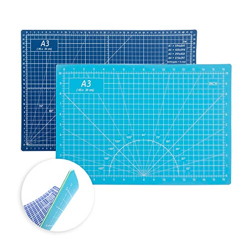 Self Healing Cutting Mat 18 x12  Non-Slip PVC Double Sided 5-Ply A3 Art Craft Rotating Mat, Rotary Cutting Mat for Quilting, Sewing Crafts Hobby Fabric Precision Scrapbooking Project(Blue Light Blue)