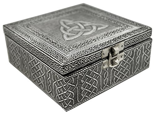 VGI Elegant Jewelry Box with Hammered Metal Cladding and Soft Fabric Interior (Celtic, Silver Finish)