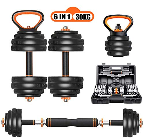 CHAIJY 【6 in 1】 Adjustable Free Weights Dumbbells Kettlebell Barbell Push-up Stand, 15KG, 20KG, 30KG Home Fitness Weight Set for Men Women with Storage Box for Gym Workout Exercise Training,30KG