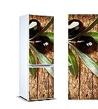 Vinilo Frigorífico Rama Olivo Aceitunas Negras 200x70cm | Varias Medidas | Pegatinas de Nevera Económicas y Elegantes | Vinilo Nevera