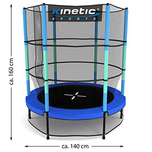 Kinetic Sports Trampolin Kinder Indoortrampolin Jumper 140 cm Randabdeckung Stangen gepolstert, Gummiseil-Federung Sicherheitsnetz Blau