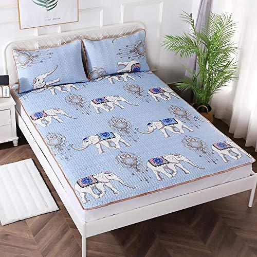 MKMKT Colchón, tapete de látex Tres Piezas, tapete Lavable para Aire Acondicionado, tapete de látex Plegable, colchón Individual Doble, Ropa de Cama,Lx03,150x200cm