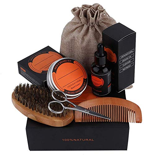 First choice Beard Grooming Kit,6pcs Beard Combo Set for Men 6 PCs with Brush,Comb,Organic Beard Oil(60ml),Mustache Balm(60g),Scissors and Bag for Styling Shaping and Growth plm46