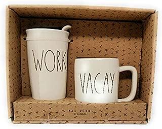 Rae Dunn WORK VACAY Travel Tumbler With Lid Coffee Mug Cup Gift Set