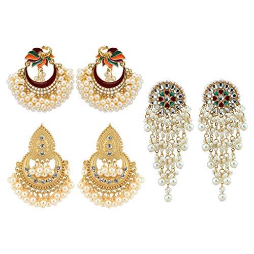 WANMEI 3 pares de pendientes de novia étnicos de Bollywood para novia, Kundan, perlas de pavo real, Jhumka Jhumki indio, joyería de moda