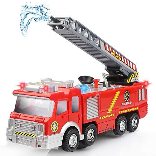 Camión de Bomberos Eléctrico Juguete Coche Vehiculo con Luz, Sonidos, Bomba de Agua y Escalera Extendible para niños 3 4 5