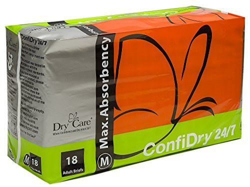ConfiDry 24/7 Dry Care Max Absorbency Adult Brief Diapers, Medium, 18 Count