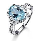 Genuine Aquamarine Fashion Gemstone 14K White Gold Diamond Promise Wedding Engagement Bridal Women\s Ring Set