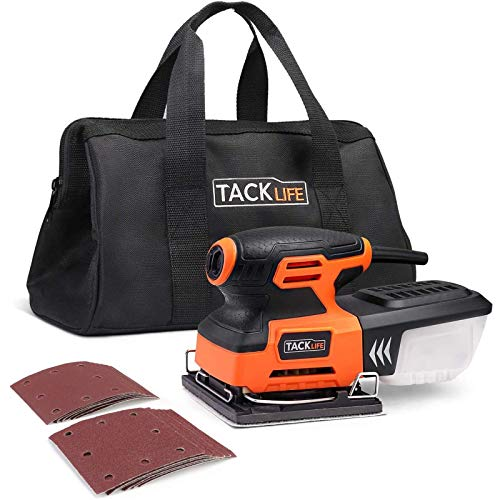 TACKLIFE 1/4 Sheet Sander, 2.2A Palm Sander with Copper Motor, 15,000 RPM, Dust-proof Switch, Soft Rubber Protection, Low Tremor for DIY Sanding PSS01A