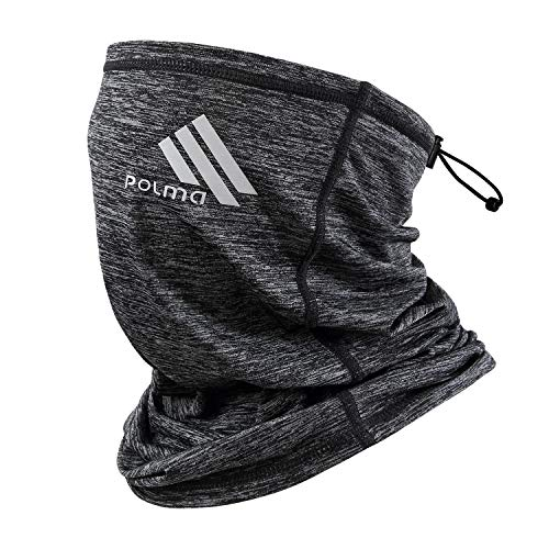Polma Cooling Neck Gaiter Face Mask - Breathable Lightweight Dust & UV Sun-Protection Bandanas for Men Outdoors (Grey)